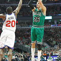 17 March 2012: Chicago Bulls shooting guard Kyle Korver (26) takes a jumpshot over Philadelphia Sixers guard Jodie Meeks (20) during the Chicago Bulls 89-80 victory over the Philadelphia Sixers at the United Center, Chicago, Illinois, USA.