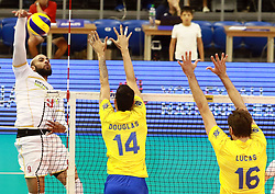 June 16, 2018 - Varna, Bulgaria - from left Earvin NGAPETH (France), Douglas SOUZA (Brazil), Lucas SAATKAMP (Brazil), .mens Volleyball Nations League,week 4, Brazil vs Francel, Palace of culture and sport, Varna/Bulgaria, June 16, 2018, the fourth of 5 weekends of the preliminary lap in the new established mens Volleyball Nationas League takes place in Varna/Bulgaria. (Credit Image: © Wolfgang Fehrmann via ZUMA Wire)