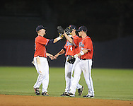 Mississippi players run onto the field following a 10-5 win vs. St. John's during an NCAA Regional at Davenport Field in Charlottesville, Va. on Friday, June 4, 2010.