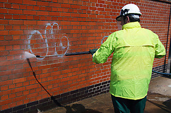 Chemicalfree graffiti removal on Woolpack Lane; Nottingham,