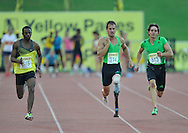 GERMISTON, SOUTH AFRICA, Saturday 25 February 2011, Jonathan Ntutu, Arnu Fourie and Charl du Toit in mens 100m during the Yellow Pages Interprovincial held at the Herman Immelman stadium..Photo by ImageSA/ASA