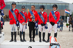 Team Switzerland, Reverdin Valdyr, Meier Fiona, Sturzengger Henri, Buhofer Simone, Notz Cornelia<br /> Class 16 Nations Cup YR<br /> International Competition CSIO Young Riders Opglabbeek 2016<br /> © Dirk Caremans