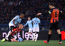 October 23, 2018 - Kharkiv, Ukraine - Players of FC Shakhtar Donetsk (orange and black kit) and Manchester City FC (blue kit) are seen in action during the UEFA Champions League Group F Matchday 3 game at the Metalist Stadium Regional Sports Complex, Kharkiv, northeastern Ukraine, October 23, 2018. Ukrinform. (Credit Image: © Danil Shamkin/Ukrinform via ZUMA Wire)