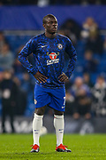 Chelsea defender Ngolo Kante (7) warms up before the EFL Cup semi final second leg match between Chelsea and Tottenham Hotspur at Stamford Bridge, London, England on 24 January 2019.