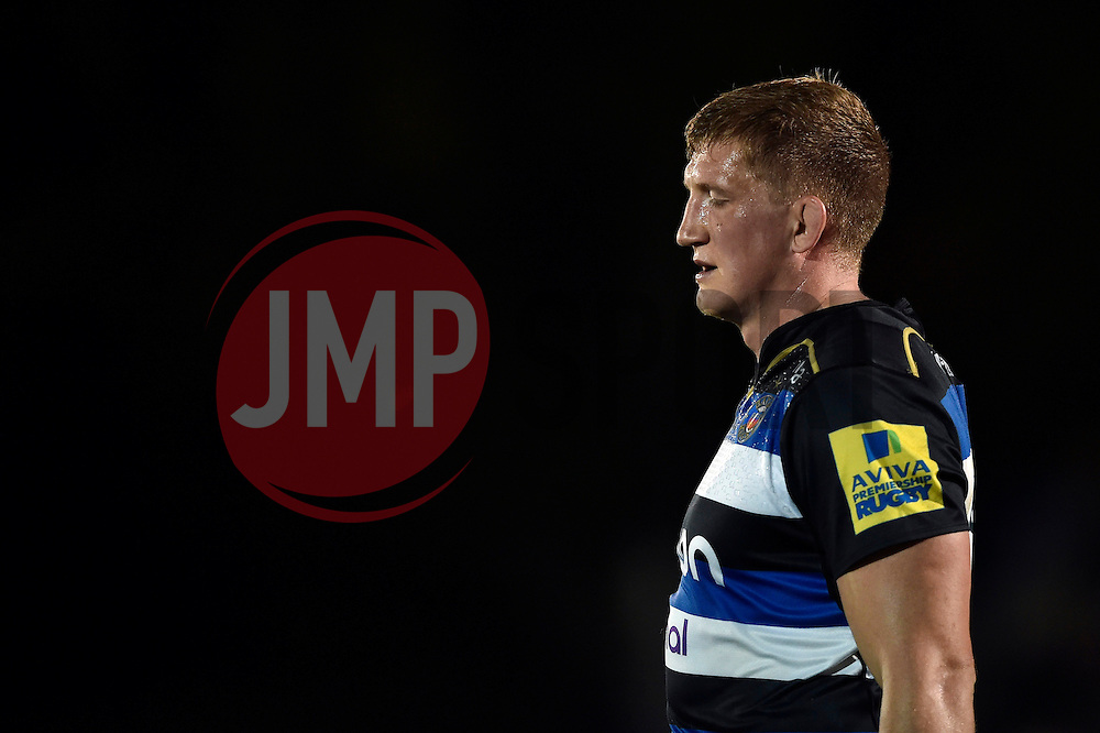 Stuart Hooper of Bath Rugby looks dejected - Mandatory byline: Patrick Khachfe/JMP - 07966 386802 - 10/10/2015 - RUGBY UNION - The Recreation Ground - Bath, England - Bath Rugby v Exeter Chiefs - West Country Challenge Cup.