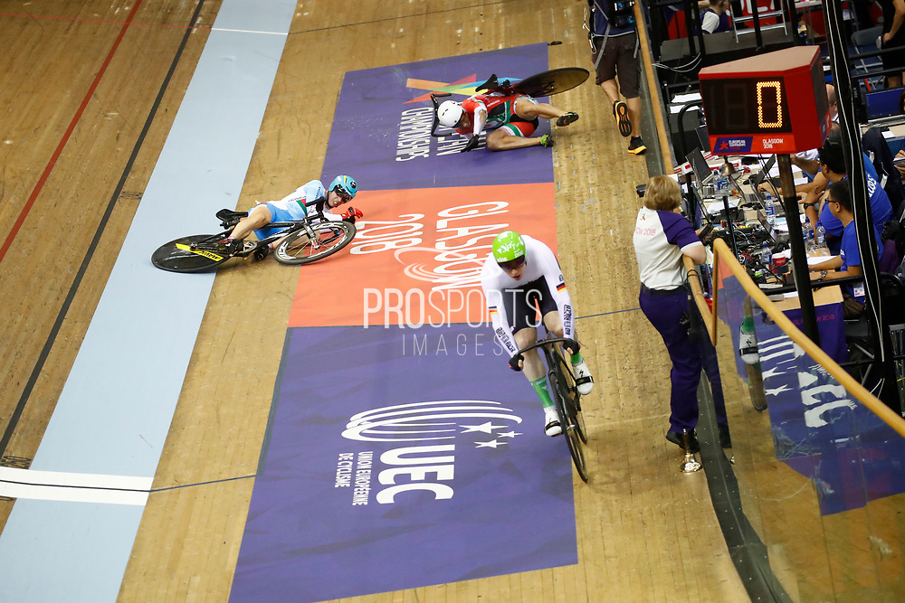 Men Keirin, Joachim Eilers (Germany) - Sandor Szalontay (Hungary) crash - Sergii Omelchenko (Azerbaijan) crash, during the Track Cycling European Championships Glasgow 2018, at Sir Chris Hoy Velodrome, in Glasgow, Great Britain, Day 6, on August 7, 2018 - Photo luca Bettini / BettiniPhoto / ProSportsImages / DPPI<br /> - Restriction / Netherlands out, Belgium out, Spain out, Italy out -