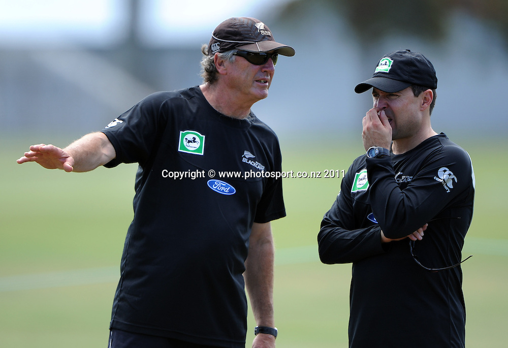 John Wright and assitant coach Trent Woodhill during a Black Caps training session at Nelson Park in Napier ahead of the first cricket test against Zimbabwe starting this week. Tuesday 24 January 2012. Napier, New Zealand. Photo: Andrew Cornaga/Photosport.co.nz