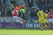 Luke Murphy (8) scores to go 1 all  during the Sky Bet Championship match between Rotherham United and Leeds United at the New York Stadium, Rotherham, England on 2 April 2016. Photo by Ian Lyall.