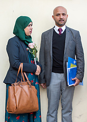 Tafida Raqeeb's parents, Shelina Begum and Mohammed Raqeeb, after a press conference at the Gaslini Hospital in Genoa. Five-year-old Tafida's parents won a High Court battle with hospital bosses earlier this month, when a judge ruled the youngster could be moved to the Italian hospital.