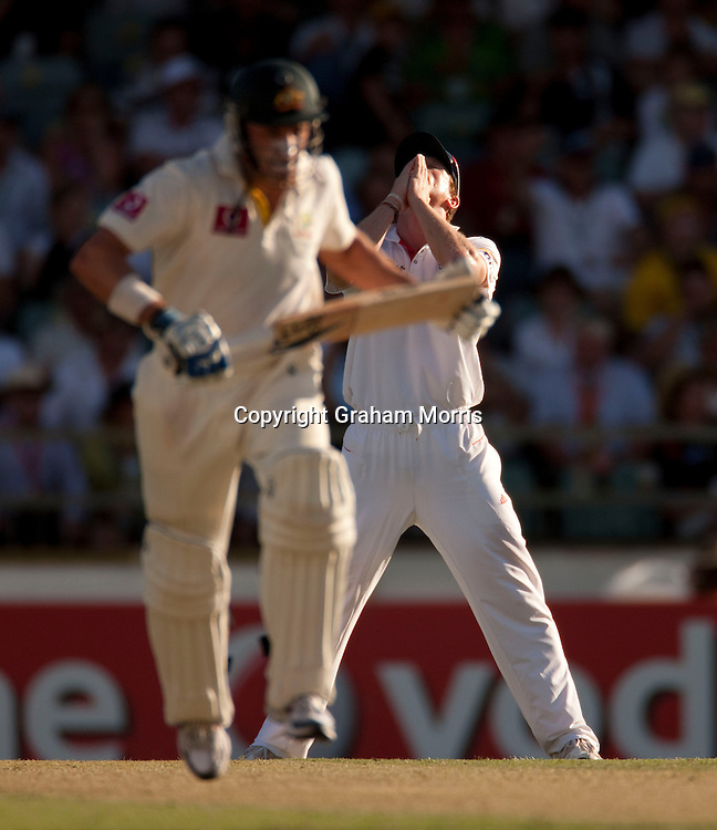 Paul Collingwood as Michael Hussey runs during the third Ashes test match between Australia and England at the WACA (West Australian Cricket Association) ground in Perth, Australia. Photo: Graham Morris (Tel: +44(0)20 8969 4192 Email: sales@cricketpix.com) 17/12/10