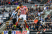 Stoke City Defender Philipp Wollscheid cant quite direct the header  during the Barclays Premier League match between Newcastle United and Stoke City at St. James's Park, Newcastle, England on 31 October 2015. Photo by Craig McAllister.