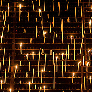 "November 12, 2013 - New York, NY : A wall of candles -- pictured here in detail -- form a backdrop of sorts for ""Era la Notte,"" which is having its U.S. premiere, staged by Juliette Deschamps as part of Lincoln Center's White Light Festival, at the Rose Theater in Manhattan on Wednesday evening. CREDIT: Karsten Moran for The New York Times"