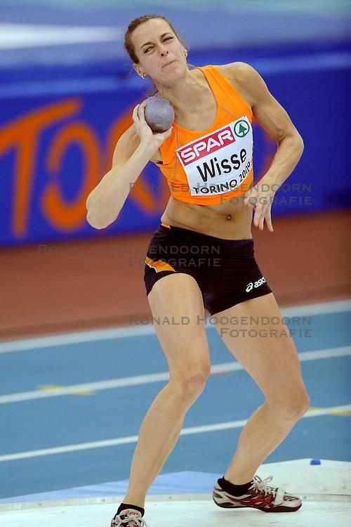 06-03-2009 ATLETIEK: EK INDOOR: TURIJN <br /> Yvonne Wisse stoot 12.73 m en wordt 13de op het onderdeel kogelstoten<br /> &copy;2009-WWW.FOTOHOOGENDOORN.NL