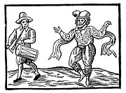 English Elizabethan clown Will Kempe dancing a jig from Norwich to London in 1600. William Kempe (also spelled Kemp) (fl. 1600{d.1603?}) was an English actor and dancer best known for being one of the original actors in William Shakespeare's plays. Specialising in comic roles, he was considered during the period as the successor to the great Queen's Men clown Richard Tarlton.  Source: Kempes Nine Daies Wonder Date 160