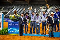 SCHUMACHER Julia (GER), SCHOELLER Robin (GER), S?CHTING Markus (GER), LUDWIG Grischa (GER)<br /> Deutsches Reining Team<br /> Tryon - FEI World Equestrian Games™ 2018<br /> Siegerehrung Teams<br /> Reining Teamwertung und 1.Einzelqualifikation<br /> 12. September 2018<br /> © www.sportfotos-lafrentz.de/Stefan Lafrentz