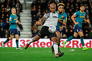 Derby County defender Andre Wisdom clears the ball during the EFL Sky Bet Championship match between Derby County and Hull City at the Pride Park, Derby, England on 18 January 2020.