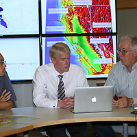 Seismologist Takaaki Tairar, Richard M. Allen, Director of the Berkeley Seismological Laboratory, and Doug Neuhauser talk about  the Napa area earthquake at the lab in Berkeley, California, on Monday, August 24, 2014.  On Sunday, a 6.1 magnitude earthquake caused significant damage and left three critically injured in California's northern Bay Area early Sunday, igniting fires, sending at least 87 people to a hospital, knocking out power to tens of thousands and sending residents running out of their homes in the darkness. Aftershocks are still being captured across the area by seismometers that are recording seismic data. (AP Photo/Alex Menendez)