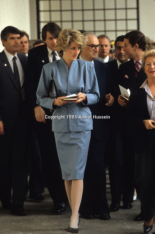 MILAN - APRIL 22:  Diana, Princess of Wales, wearing a Bruce Oldfield blue silk suit, visits Milan on April 22, 1985 in Milan, Italy . (Photo by Anwar Hussein/Getty Images) *** Local Caption *** Diana, Princess of Wales