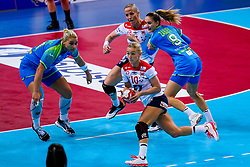 02-12-2019 JAP: Slovenia - Norway, Kumamoto<br /> Second day 24th IHF Women's Handball World Championship, Slovenia lost the second match against Norway with 20 - 36. Aneja Beganovic #41 of Slovenia, Stine Bredal Oftedal #10 of Norway, Nina Zabjek #9 of Slovenia