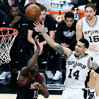 03 May 2017: San Antonio Spurs guard Danny Green (14) goes for the layup against Houston Rockets center Clint Capela (15) during the San Antonio Spurs 121-96 victory over the Houston Rockets, in game 2 of the Western Conference Semi Finals, at the AT&T Center, San Antonio, Texas, USA.