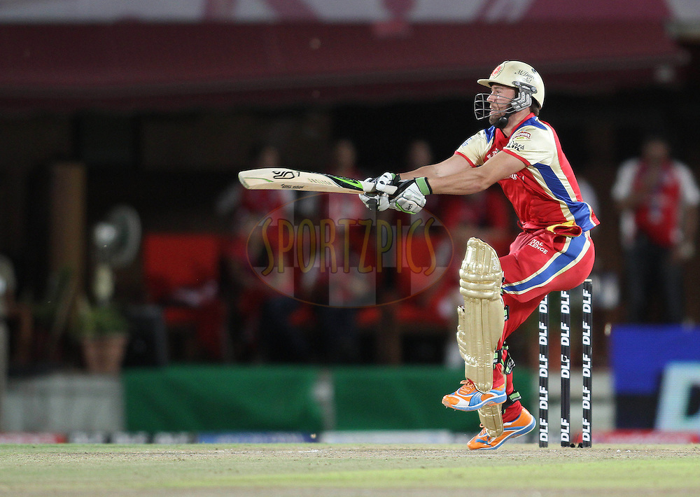 AB De Villiers of the Royal Challengers Bangalore cuts a delivery square during match 63 of the Indian Premier League ( IPL ) Season 4 between the Kings XI Punjab and the Royal Challengers Bangalore held at the The HPCA Stadium in Dharamsala, Himachal Pradesh, India on the 17th May 2011..Photo by Shaun Roy/BCCI/SPORTZPICS