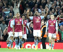 Aston Villa's Christian Benteke celebrates his second goal - Photo mandatory by-line: Robbie Stephenson/JMP - Mobile: 07966 386802 - 07/04/2015 - SPORT - Football - Birmingham - Villa Park - Aston Villa v Queens Park Rangers - Barclays Premier League
