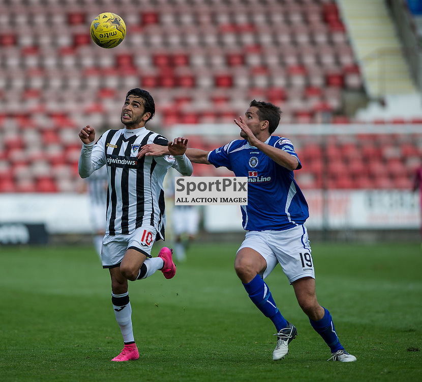 Dunfermline Athletic v Stranraer, SPFL League One, East End Park, 29 August 2015<br /> Faissal El Bahktaoui tussles for the ball with Stranraer's Lee Mair during the SPFL League One encounter between Dunfermline and Stranraer.<br /> ROSS PARKER | SportPix.org.uk