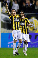 Onderwerp/Subject: Vitesse - Willem II      Eredivisie<br /> Reklame: <br /> Club/Team/Country: Vitesse - Willem II<br /> Seizoen/Season: 2009/2010<br /> FOTO/PHOTO: Vitesse's Serginho GREENE (R) celebrates his goal with CLAUDEMIR (L) (Photo by PICS UNITED/Aaron van Zandvoort)<br /> <br /> Trefwoorden/Keywords: <br /> #02 $28 &plusmn;1261427875599<br /> Photo- &amp; Copyrights &copy; PICS UNITED<br /> P.O. Box 7164 - 5605 BE  EINDHOVEN (THE NETHERLANDS)<br /> Phone +31 (0)40 296 28 00<br /> Fax +31 (0) 40 248 47 43<br /> http://www.pics-united.com<br /> e-mail : sales@pics-united.com (If you would like to raise any issues regarding any aspects of products / service of PICS UNITED) or<br /> e-mail : sales@pics-united.com <br /> <br /> ATTENTIE:<br /> Publicatie ook bij aanbieding door derden is slechts toegestaan na verkregen toestemming van Pics United.<br /> VOLLEDIGE NAAMSVERMELDING IS VERPLICHT! (&copy; PICS UNITED/Naam Fotograaf, zie veld 4 van de bestandsinfo 'credits')<br /> ATTENTION: <br /> &copy; Pics United. Reproduction/publication of this photo by any parties is only permitted after authorisation is sought and obtained from  PICS UNITED- THE NETHERLANDS