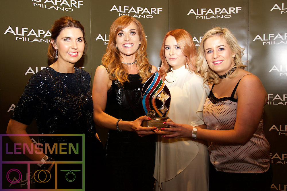 INIXIA Photographic Award<br /> <br /> Joan Jordan, Alfaparf Milano Ireland<br /> Denise Philips, winner from Pelo, Newbridge<br /> Danielle Wallace, model<br /> Emma Dowling, stylist