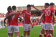 Barnsley FC celebrate goal scored by Barnsley FC forward Tom Bradshaw (9) to go 1-0  during the EFL Sky Bet Championship match between Barnsley and Birmingham City at Oakwell, Barnsley, England on 4 November 2017. Photo by Ian Lyall.
