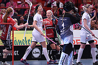 2019-04-27 | Stockholm, Sweden: Kais Mora IF (3) Moa Andersson during the game between KAIS Mora IF and Täby FC IBK at Ericsson Globe Arena ( Photo by: Simon Holmgren | Swe Press Photo )<br /> <br /> Keywords: Ericsson Globe Arena, Stockholm, Floorball, SM-Final, KAIS Mora IF, Täby FC IBK