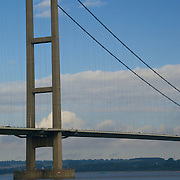 The Humber Suspension Bridge, a road bridge crossing the Humber Estuary in Yorshire, England.