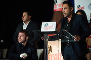 Oscar De La Hoya speaks to the media after Canelo Alvarez defeated Liam Smith in front of over 51,000 fans at AT&T Stadium in Arlington, Texas on September 17, 2016.  (Cooper Neill for ESPN)