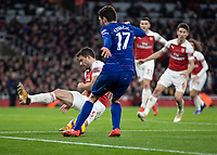 Football - 2018 / 2019 Premier League - Arsenal vs. Chelsea<br /> <br /> Sokratis Papastathopoulos (Arsenal FC) throws himself into blocking the cross from Mateo Kovacic (Chelsea FC) at The Emirates.<br /> <br /> COLORSPORT/DANIEL BEARHAM