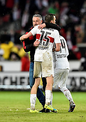 30.12.2015, Mercedes Benz Arena, Stuttgart, GER, 1. FBL, VfB Stuttgart vs Hamburger SV, 19. Runde, im Bild Schlussjubel Jubel nach Spielende Trainer Coach Juergen Kramny VfB Stuttgart mit Kevin Grosskreutz VfB Stuttgart // during the German Bundesliga 19th round match between VfB Stuttgart and Hamburger SV at the Mercedes Benz Arena in Stuttgart, Germany on 2015/12/30. EXPA Pictures © 2016, PhotoCredit: EXPA/ Eibner-Pressefoto/ Weber<br /> <br /> *****ATTENTION - OUT of GER*****