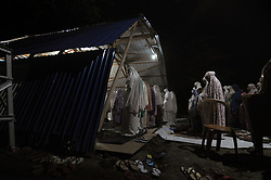 May 5, 2019 - Palu, Central Sulawesi, Indonesia - PALU, INDONESIA - MAY 5 : Indonesian muslims perform the fisrt Tarawih pray on the holy month of Ramadan at temporary mosque after tsunami and earthquake on May 5, 2019 in Palu, Central Sulawesi Province, Indonesia. (Credit Image: © Sijori Images via ZUMA Wire)