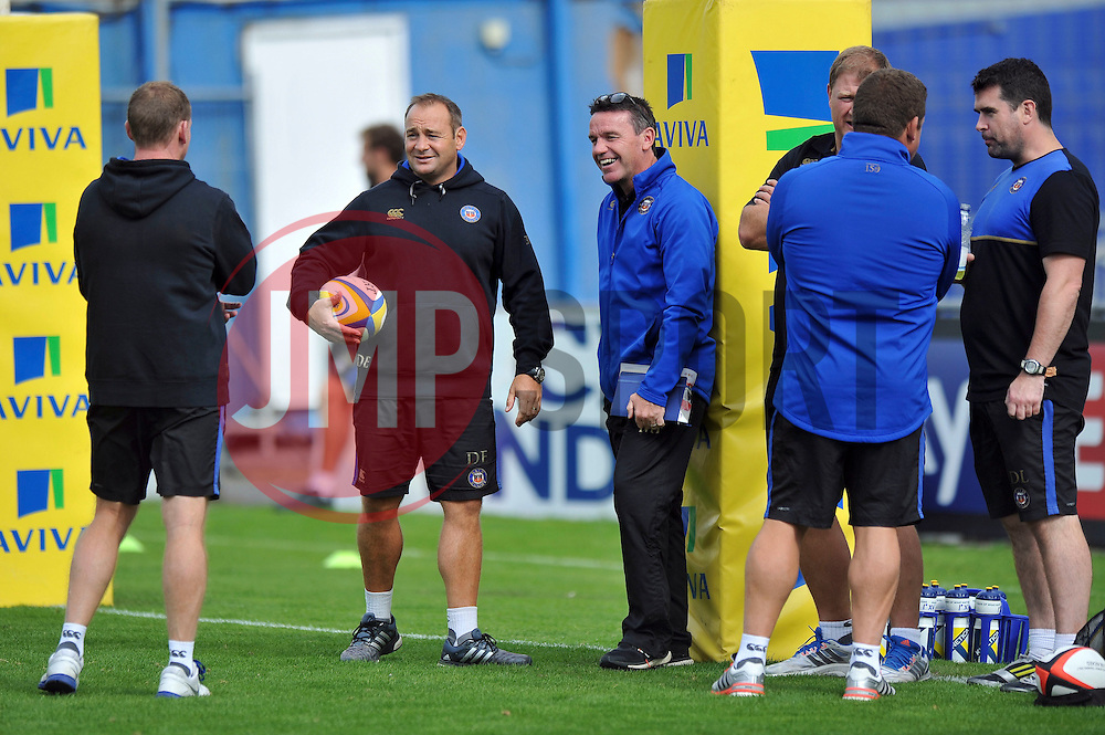 Bath Rugby First team coach Darren Edwards and Head Coach Mike Ford look on during the pre-match warm-up - Mandatory byline: Patrick Khachfe/JMP - 07966 386802 - 13/09/2015 - RUGBY UNION - Memorial Stadium - Bristol, England - Gloucester Rugby v Bath Rugby - West Country Challenge Cup.