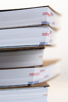 Note books in stack - close-up