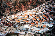 Salinares de Manas; salt pans in the Sacred Valley, near Cusco, Peru.