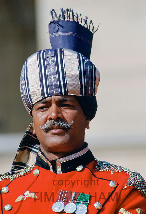 Ceremonial guard at Rashtrapati Bhavan, Presidential House, in New Delhi, India