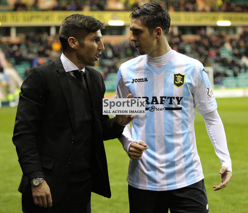 Hibernian v Livingston Scottish Championship 17 November 2015; Livingston's Head Coach Mark Burchill and Jackson Longridge (Livingston, 3) before the Hibernian v Livingston Scottish Championship match played at Easter Road Stadium, Edinburgh; <br /> <br /> <br /> <br /> &copy; Chris McCluskie | SportPix.org.uk