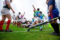 Players of Slovenia celebrate after score with a try during rugby match between National team of Slovenia (green) and Bulgaria (white) at EUROPEAN NATIONS CUP 2012-2014 of C group 2nd division, on April 12, 2014, at ZAK Stadium, Ljubljana, Slovenia. (Photo by Matic Klansek Velej / Sportida.com)