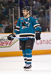 March 13, 2010; San Jose, CA, USA; San Jose Sharks defenseman Dan Boyle (22) during the first period against the Florida Panthers at HP Pavilion. Florida defeated San Jose 3-2 in overtime. Mandatory Credit: Jason O. Watson / US PRESSWIRE