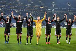 21.03.2015, Veltins Arena, Gelsenkirchen, GER, 1. FBL, Schalke 04 vs Bayer 04 Leverkusen, 26. Runde, im Bild vl: Oemer Toprak (Bayer 04 Leverkusen #21), Kapitaen Simon Rolfes (Bayer 04 Leverkusen #6), Hakan Calhanoglu (Bayer 04 Leverkusen #10), Torwart Bernd Leno (Bayer 04 Leverkusen #1), Lars Bender (Bayer 04 Leverkusen #8), Stefan Kiessling (Bayer 04 Leverkusen #11) und Emir Spahic (Bayer 04 Leverkusen #5) feiern den Sieg mit den Fans // during the German Bundesliga 26th round match between Schalke 04 and Bayer 04 Leverkusen at the Veltins Arena in Gelsenkirchen, Germany on 2015/03/21. EXPA Pictures © 2015, PhotoCredit: EXPA/ Eibner-Pressefoto/ Schueler<br /> <br /> *****ATTENTION - OUT of GER*****