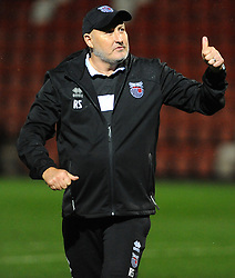 Grimsby Town manager Russell Slade thanks fans after the final whistle - Mandatory by-line: Nizaam Jones/JMP- 17/10/2017 - FOOTBALL - LCI Rail Stadium - Cheltenham, England - Cheltenham Town v Grimsby Town - Sky Bet League Two