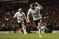 Andros Townsend of Tottenham Hotspur celebrates scoring his sides third goal to make the scoreline 3-1 during the Barclays Premier League match between Tottenham Hotspur and Chelsea  at White Hart Lane, London<br /> Picture by Richard Blaxall/Focus Images Ltd +44 7853 364624<br /> 01/01/2015