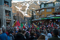 A band from Sardis, BC, plays to a cheering crowd in the Town Plaza during the 2010 Olympic Winter Games in Whistler, BC Canada.