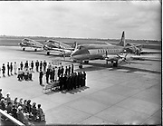 "27/05/1956<br /> 05/27/1956<br /> 27 May 1956<br /> Blessing of the Aer Lingus fleet at Dublin Airport. Prayers being said before Vickers Viscount ""Brendan"" and  three DC3's. Note the staff representing different aspects of Aer LIngus either side of the altar."