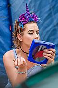 Unicorn horns and make up - preparation is key - The 2017 Glastonbury Festival, Worthy Farm. Glastonbury, 2 June 2017
