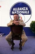 Roma Aprile 1994 ..Francesco Storace, Alleanza Nazionale  in attesa dei risultati delle elezioni politiche.